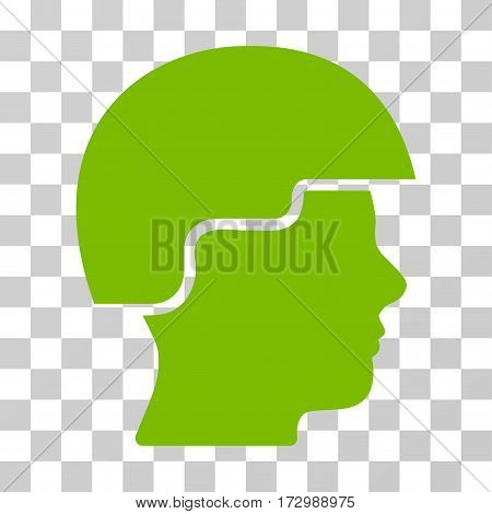 Soldier Helmet vector pictograph. Illustration style is flat iconic eco green symbol on a transparent background.