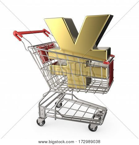 Red Shopping Cart With Golden Japanese Yen Currency Sign 3D