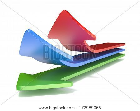 Three Way Arrows, Showing Three Different Directions Upward. 3D