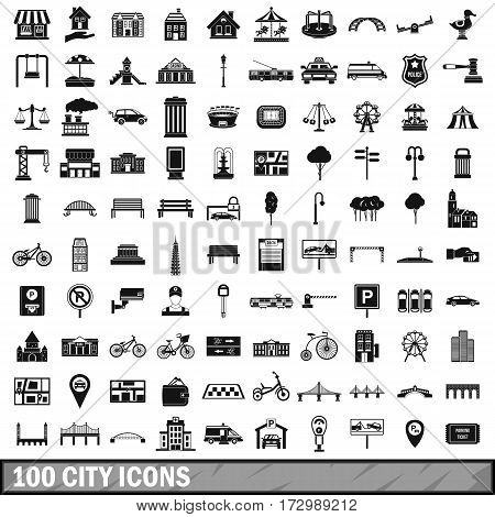 100 city icons set in simple style for any design vector illustration