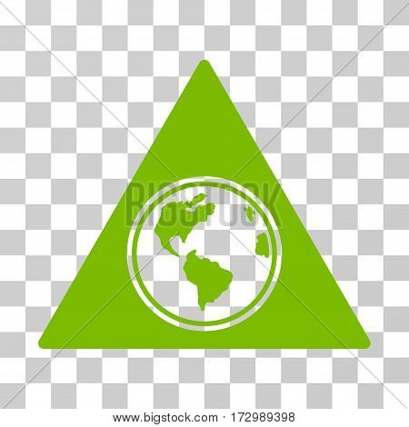 Terra Triangle vector pictogram. Illustration style is flat iconic eco green symbol on a transparent background.