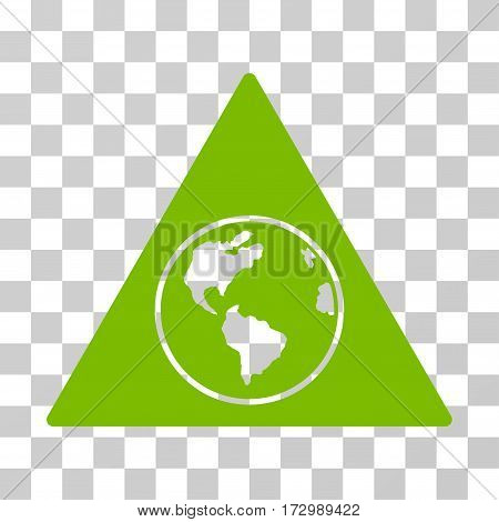 Terra Triangle vector pictograph. Illustration style is flat iconic eco green symbol on a transparent background.