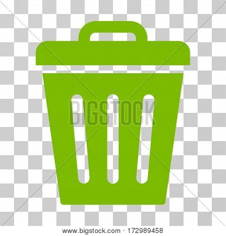 Trash Can vector pictogram. Illustration style is flat iconic eco green symbol on a transparent background.
