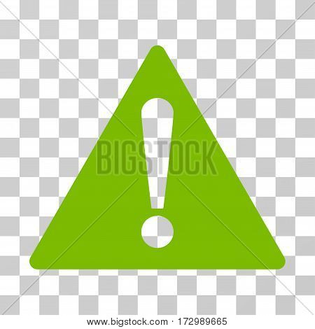Warning vector pictogram. Illustration style is flat iconic eco green symbol on a transparent background.