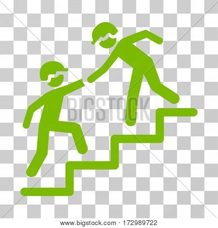 Workers Help vector pictograph. Illustration style is flat iconic eco green symbol on a transparent background.