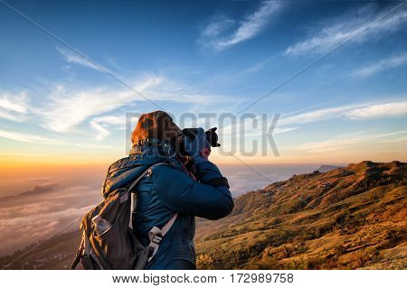 Beautiful Women Professional Photographer Takes Images With Dslr Camera., On The Mountain With Morni
