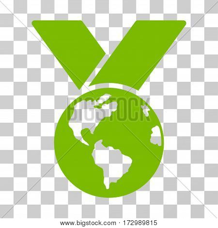 World Medal vector pictogram. Illustration style is flat iconic eco green symbol on a transparent background.