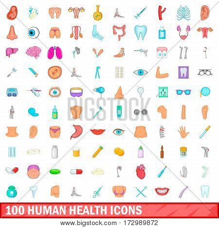 100 human health icons set in cartoon style for any design vector illustration