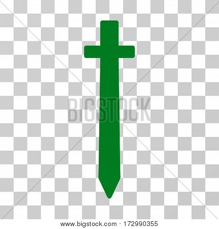 Symbolic Sword vector pictogram. Illustration style is flat iconic green symbol on a transparent background.