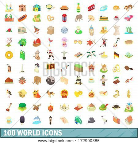 100 world icons set in cartoon style for any design vector illustration