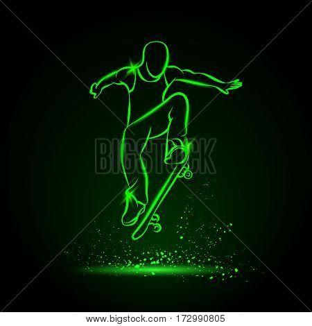 Ollie by skateboarder guy. Vector neon illustration.