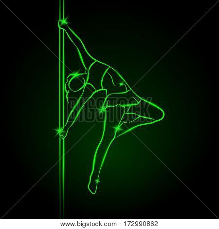 Girl on the pole. Pole dance vector neon illustration.