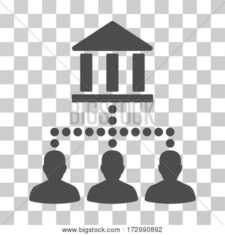 Bank Client Links vector pictogram. Illustration style is flat iconic gray symbol on a transparent background.