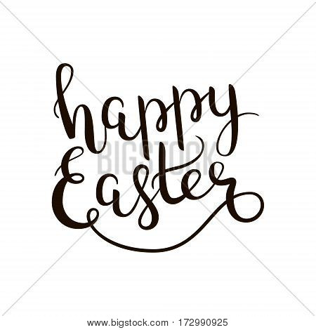 Happy Easter hand-drawn lettering decoration text on white background. Design template for greeting cards, invitations, banners, gifts, prints and posters. Calligraphic inscription in Vector EPS8.