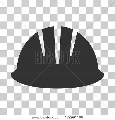 Builder Helmet vector pictograph. Illustration style is flat iconic gray symbol on a transparent background.