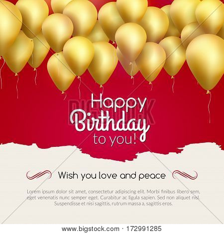 Vector happy birthday card with golden balloons, party invitation. Celebration backgorund.