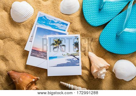 Summer Vacation Accessories On Tropical Sandy Ocean Beach