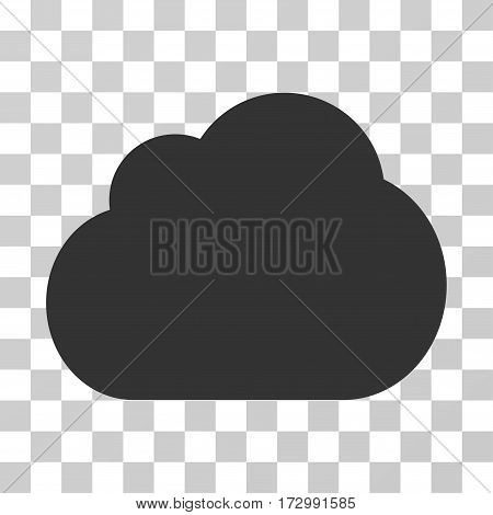 Cloud vector pictogram. Illustration style is flat iconic gray symbol on a transparent background.