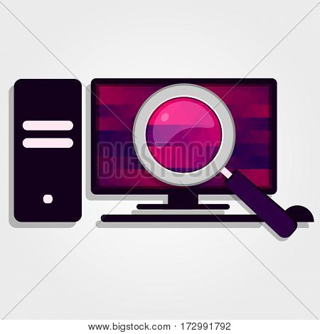 Magnifying glass enlarge the colorful screen of a PC.