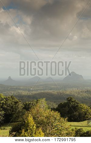 The Glasshouse Mountains Range in the Sunshine Coast Hinterland, Australia