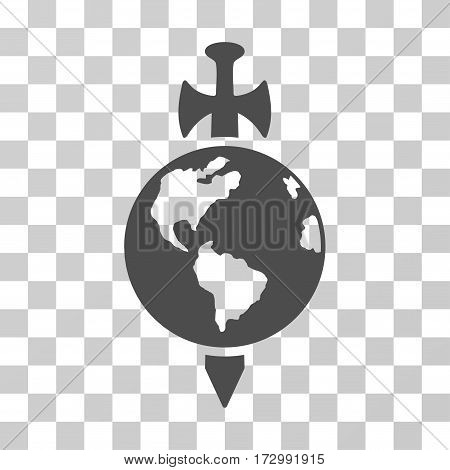 Earth Guard vector pictograph. Illustration style is flat iconic gray symbol on a transparent background.