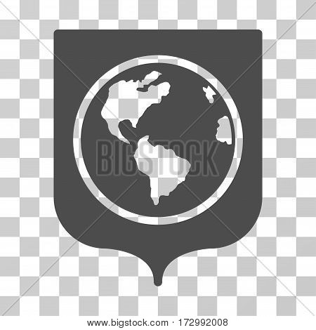 Earth Shield vector pictograph. Illustration style is flat iconic gray symbol on a transparent background.