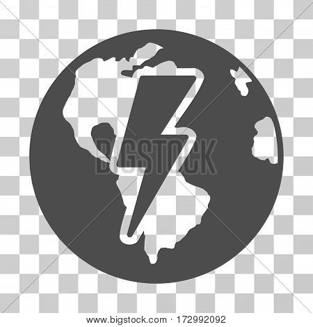 Earth Shock vector pictogram. Illustration style is flat iconic gray symbol on a transparent background.