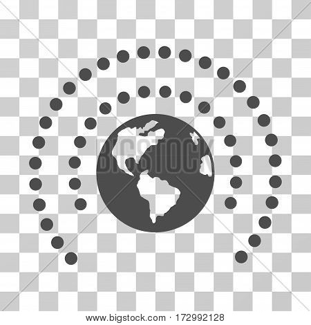 Earth Sphere Shield vector icon. Illustration style is flat iconic gray symbol on a transparent background.