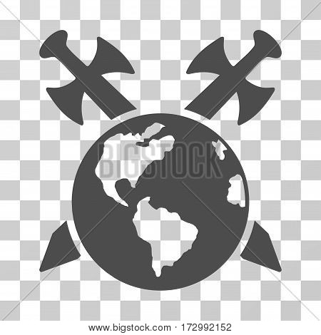 Earth Swords vector pictograph. Illustration style is flat iconic gray symbol on a transparent background.