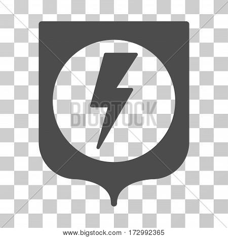Electric Protection vector pictograph. Illustration style is flat iconic gray symbol on a transparent background.