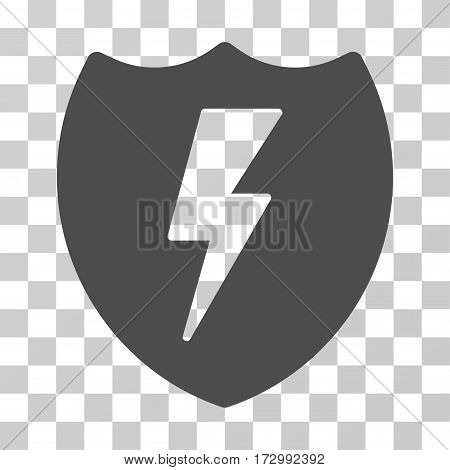 Electric Shield vector icon. Illustration style is flat iconic gray symbol on a transparent background.