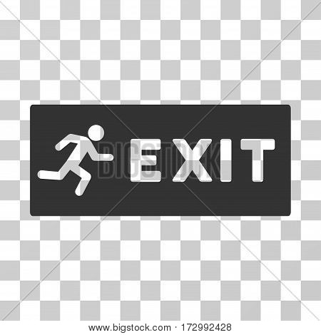 Emergency Exit vector icon. Illustration style is flat iconic gray symbol on a transparent background.