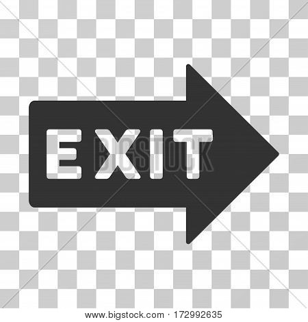 Exit Arrow vector pictogram. Illustration style is flat iconic gray symbol on a transparent background.