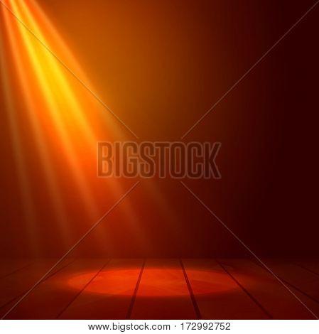 Floodlight spotlight illuminates wooden scene. Flash light on stage. Presenatation or performance background vector illustration