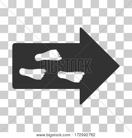 Exit Direction vector pictogram. Illustration style is flat iconic gray symbol on a transparent background.