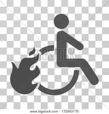 Fired Disabled Person vector pictogram. Illustration style is flat iconic gray symbol on a transparent background.