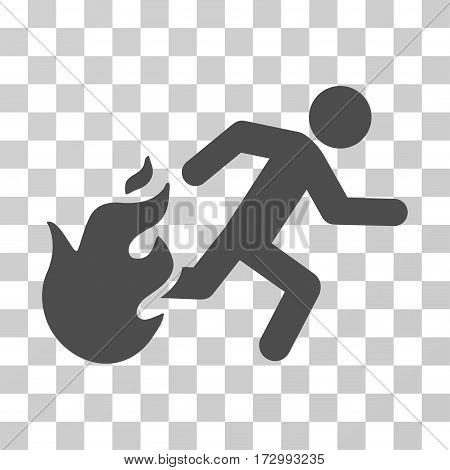Fired Running Man vector pictogram. Illustration style is flat iconic gray symbol on a transparent background.