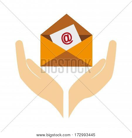 hands human with envelope letter isolated icon vector illustration design