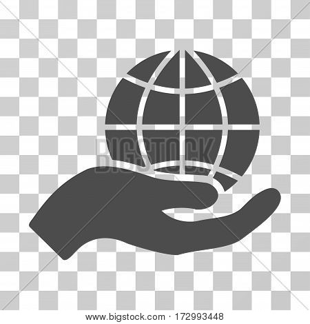Global Care vector pictograph. Illustration style is flat iconic gray symbol on a transparent background.