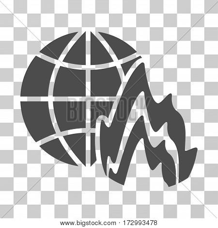 Global Fire vector pictogram. Illustration style is flat iconic gray symbol on a transparent background.