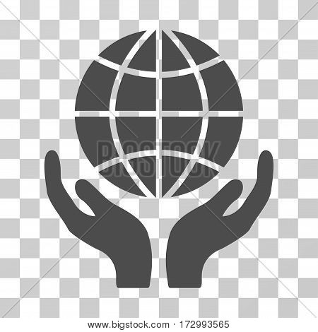 Global Hands vector pictogram. Illustration style is flat iconic gray symbol on a transparent background.