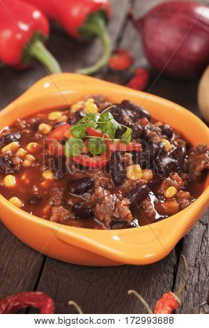 Chili con carne, mexican dish with beef, kidney beans and corn