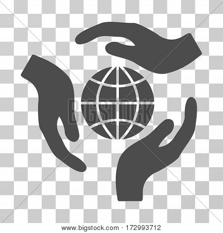 Global Protection vector pictogram. Illustration style is flat iconic gray symbol on a transparent background.