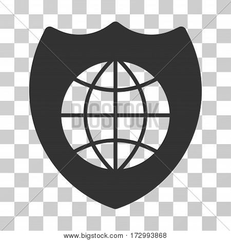 Global Shield vector icon. Illustration style is flat iconic gray symbol on a transparent background.
