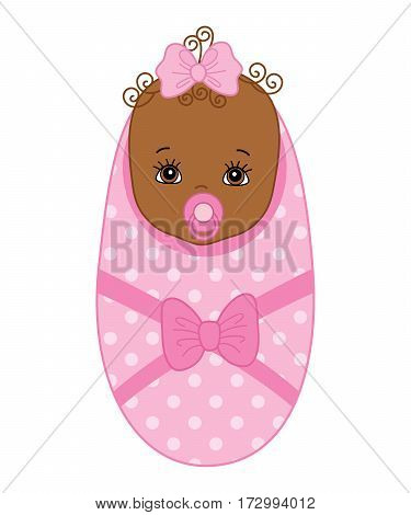 Vector African American newborn girl, baby girl, it's a girl, baby shower, infant