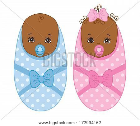 Vector African American newborn, baby boy, baby girl, twins, it's a boy, it's a girl