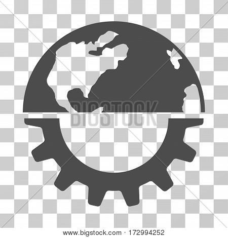 International Industry vector icon. Illustration style is flat iconic gray symbol on a transparent background.