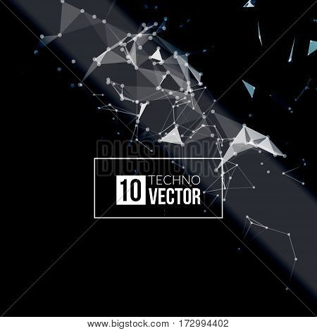 Abstract vector background. Futuristic style card. Background for business presentations. Molecular structure. Lines, point, planes in 3d space. Cybernetic dots, creative banner.