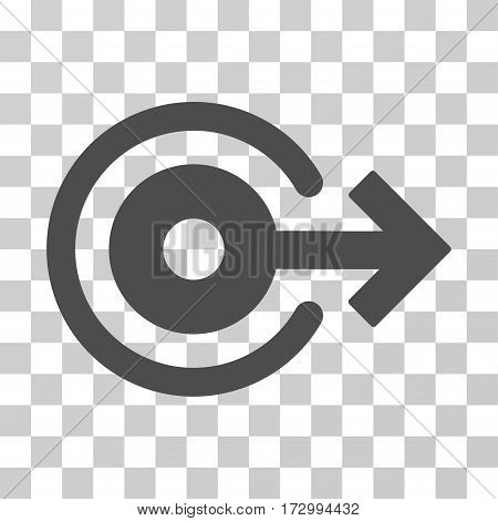 Log Out vector pictogram. Illustration style is flat iconic gray symbol on a transparent background.
