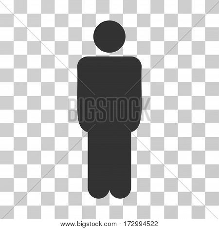 Man vector pictograph. Illustration style is flat iconic gray symbol on a transparent background.